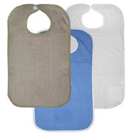 Pack of 12 Terry Adult Bib with Velcro® Brand Neck Closure - (4)khaki, (4)roy...