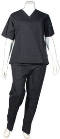 Crest Unisex Scrub Uniform Set - Pack of 3 Sets - Black (XS-Regular)