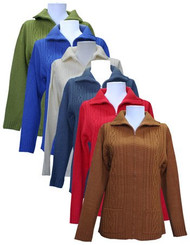 Women's Zip Front Cardigan Sweater with Pockets (Small - Red)
