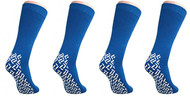 XXXL Extra Wide Bariatric Non Skid Slipper Socks (4 Pairs Blue) - For Swollen Feet and Edema