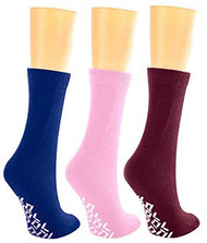 Nobles Assorted Anti Skid/No Slip Hospital Gripper Socks, Designed for Medical Hospital Patients but Great for Everyone 3 Pack (Royal, Pink, Maroon)