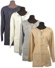 Ladies Fancy Jacket Sweater (Camel, Large)