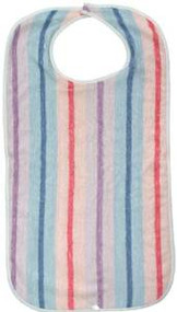 Pack of 6 - Terry Adult Bibs with Stripes Print - Velcro Closure