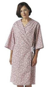front-opening mammography exam gown SPRING BOUQUET