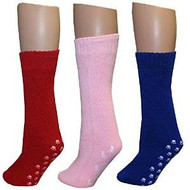 3 Pairs of Women's Slipper Socks (Red, Royal and Light Pink) Size 9-11