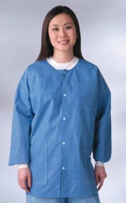 MEDLINE INDUSTRIES NONRP600L Antistatic Classic Lab Jackets - Blue Latex-Free...