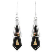 Sterling Silver Earrings Black Shell E1076-C27