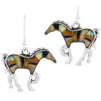 Sterling Silver Horse Earrings Multi Gemstones E1054-C34-B