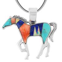 Horse Jewelry Pendant Sterling Silver Multi Gemstone P3049-SM-C00