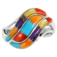 Multi Gemstone Ring Sterling Silver R2003-C01
