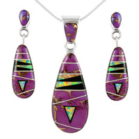 Sterling Silver Pendant & Earrings Set Purple Turquoise PE4014-C23