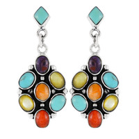 Sterling Silver Earrings Multi Gemstones E1095-C71