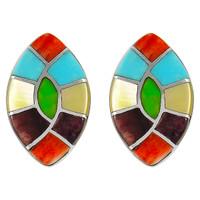 Sterling Silver Earrings Multi Gemstones E1043-C01