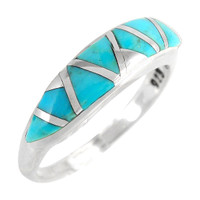 Sterling Silver Stackable Ring Turquoise R2052-C05
