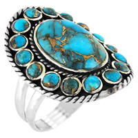 Flower Ring Sterling Silver Matrix Turquoise R2031-C84