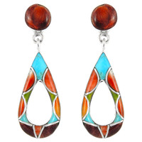 Sterling Silver Earrings Multi Gemstones E1014-C01