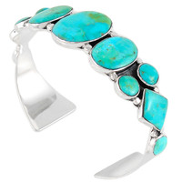 Turquoise Bracelet Sterling Silver B5491-C75