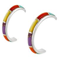 Sterling Silver Hoop Earrings Multi Gemstones E1029-C01