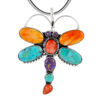 Sterling Silver Dragonfly Pendant Multi Gemstone P3083-C71