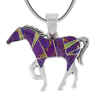 Horse Jewelry Pendant Sterling Silver Purple Turquoise P3049-SM-C23