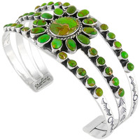 Green Turquoise Bracelet Sterling Silver B5499-C76