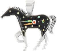 """Horse Jewelry Pendant Sterling Silver 2"""" Wide Black & Opal P3049-LG-C27 (LARGER SIZE)"""