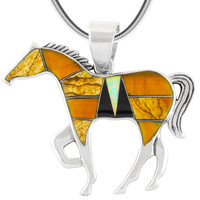 "Horse Jewelry Pendant Sterling Silver 2"" Wide Multi Gemstone P3049-LG-C34 (LARGER SIZE)"