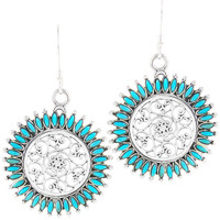 Sterling Silver Flower Earrings Turquoise E1138-C75