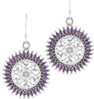 Sterling Silver Flower Earrings Purple Turquoise E1138-C77