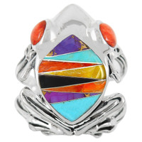 Frog Ring Sterling Silver Multi Gemstone R2266-C01
