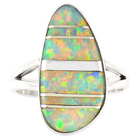 Sterling Silver Ring Lab Opal R2027-C15