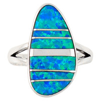 Sterling Silver Ring Blue Lab Opal R2027-C16