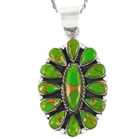 Sterling Silver Pendant Green Turquoise P3099-C76