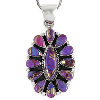 Sterling Silver Pendant Purple Turquoise P3099-C77