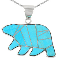 Sterling Silver Bear Pendant Turquoise P3052-C05