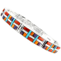 Multi Gemstone Link Bracelet Sterling Silver B5518-C51