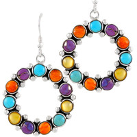 Sterling Silver Flower Earrings Multi Gemstones E1183-C71