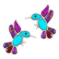 Sterling Silver Hummingbird Earrings Multi Gemstones E1188-C96