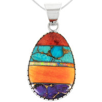 Sterling Silver Pendant Multi Gemstone P3131-C01