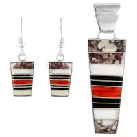 Sterling Silver Pendant & Earrings Set Multi Gemstone PE4012-C45