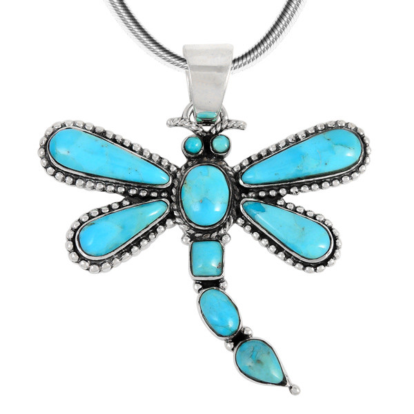 36158def2 ... Sterling Silver Dragonfly Pendant Turquoise P3265-C75. Image 1