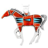 Horse Jewelry Pendant Sterling Silver Multi Gemstone P3049-SM-C03
