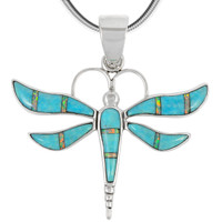 Sterling Silver Dragonfly Pendant Turquoise P3138-C21