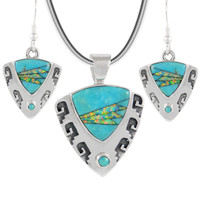 Sterling Silver Pendant & Earrings Set Turquoise PE4042-C21