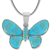 Sterling Silver Butterfly Pendant Turquoise P3146-C05