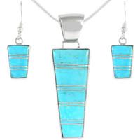 Sterling Silver Pendant & Earrings Set Turquoise PE4012-C05