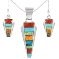 Sterling Silver Pendant & Earrings Set Multi Gemstone PE4033-C01