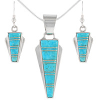 Sterling Silver Pendant & Earrings Set Turquoise PE4033-C05