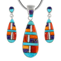 Sterling Silver Pendant & Earrings Set Multi Gemstones PE4014-C51