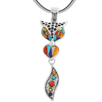 Sterling Silver Fox Pendant Multi Gemstone P3168-C01